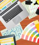 Illustration of Graphic Design Supplies with Laptop