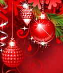 Red Ornaments with Evergreen