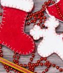 Stocking and Reindeer Felt Crafts with Red Beads