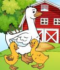 Goose with Two Goslings in Front of Barn